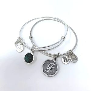 Alex and Ani Silver J Initial and Birthstone Brace